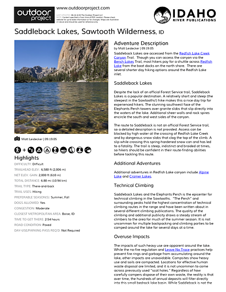 Saddleback Lakes Field Guide