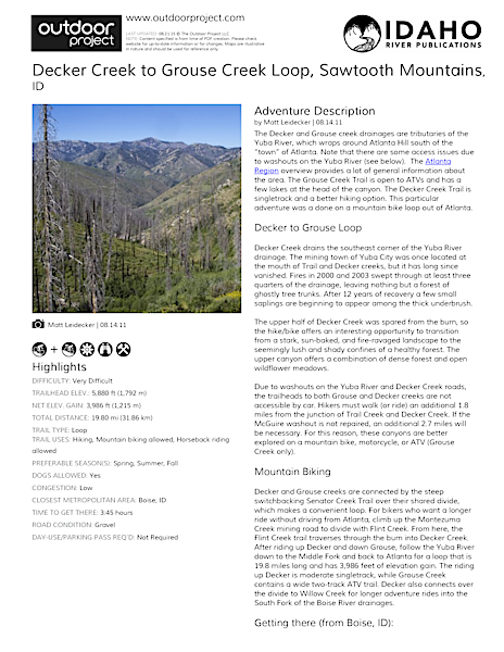 Decker Creek to Grouse Creek Loop Field Guide