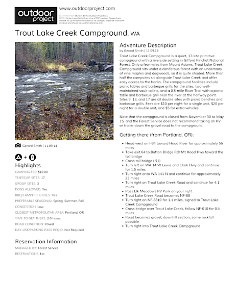 Trout Lake Creek Campground Field Guide