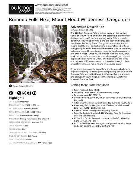 Ramona Falls Hike Field Guide