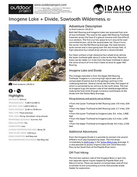 Imogene Lake + Divide Field Guide