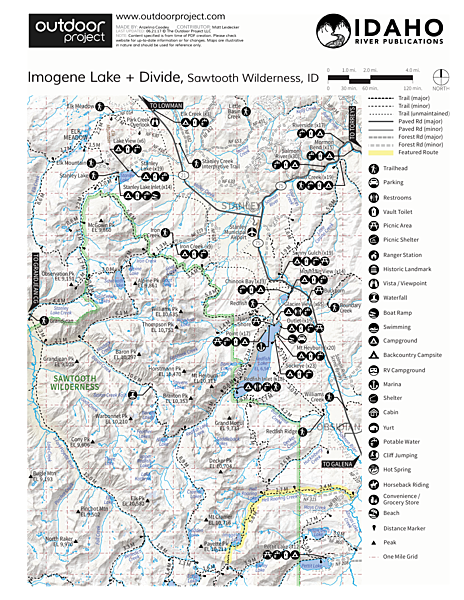 Imogene Lake + Divide Trail Map