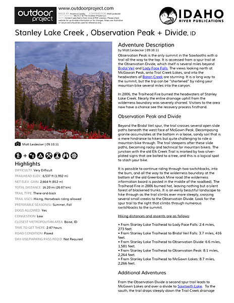 Stanley Lake Creek , Observation Peak + Divide Field Guide