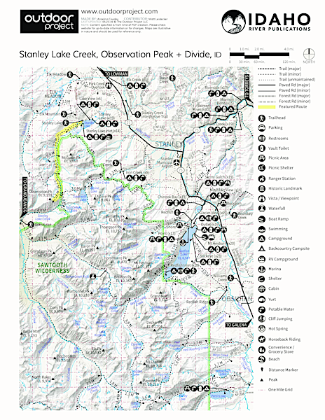 Stanley Lake Creek , Observation Peak + Divide Trail Map