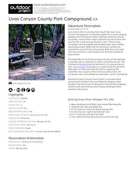 Uvas Canyon County Park Campground Field Guide