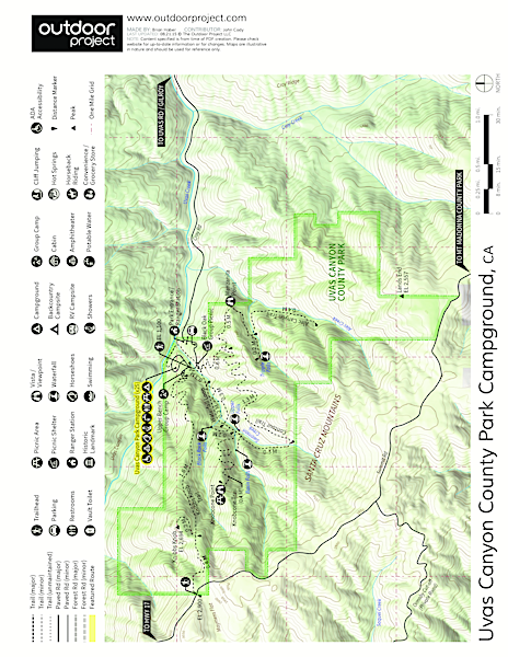 Uvas Canyon County Park Campground Map