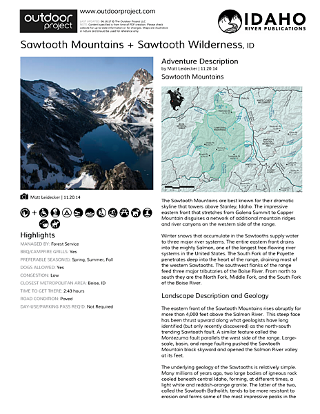 Sawtooth Mountains + Sawtooth Wilderness Field Guide