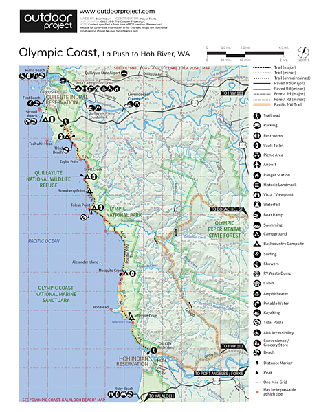 Hole-in-the-Wall, Rialto Beach Map