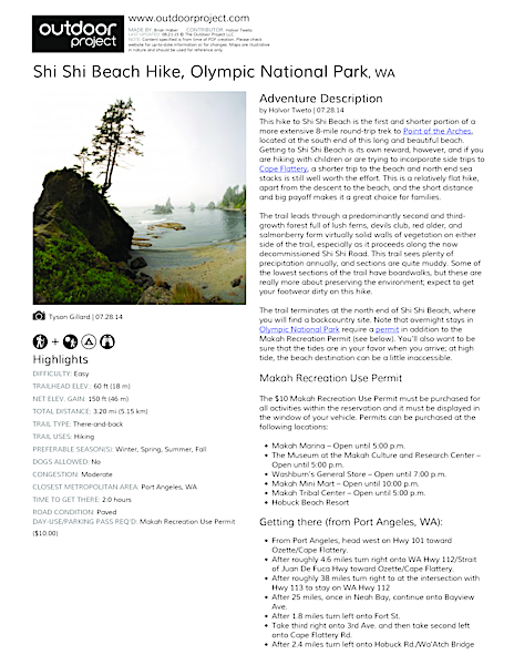 Shi Shi Beach Hike Field Guide