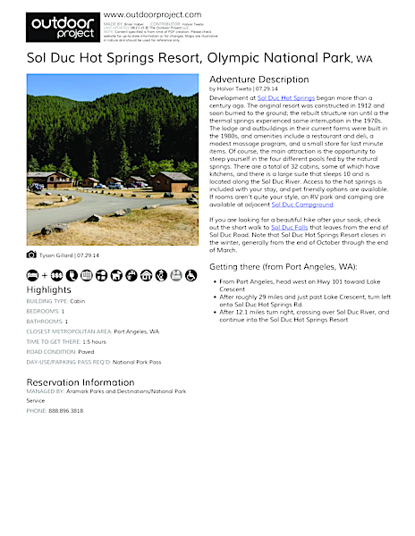 Sol Duc Hot Springs Resort Field Guide