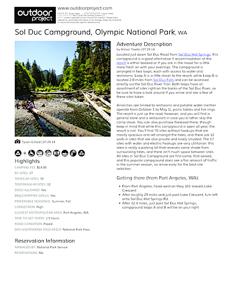 Sol Duc Campground Field Guide