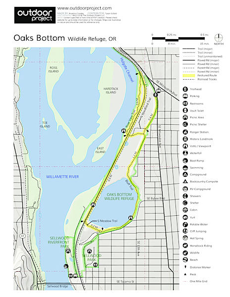 Oaks Bottom Hiking Trails Trail Map