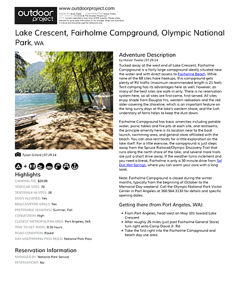 Lake Crescent, Fairholme Campground Field Guide
