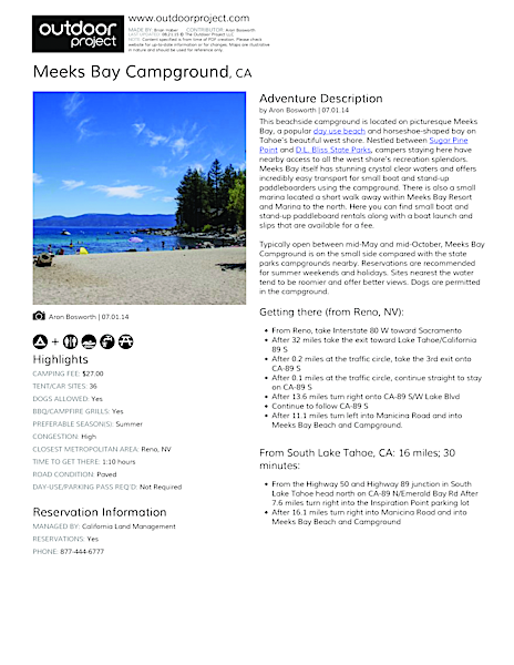 Meeks Bay Campground Field Guide