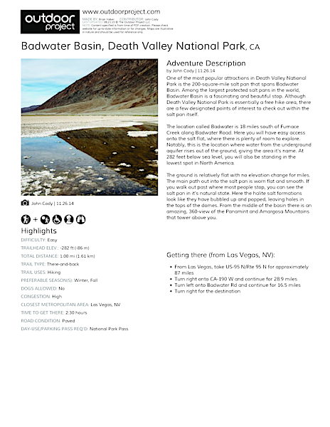 Badwater Basin Field Guide