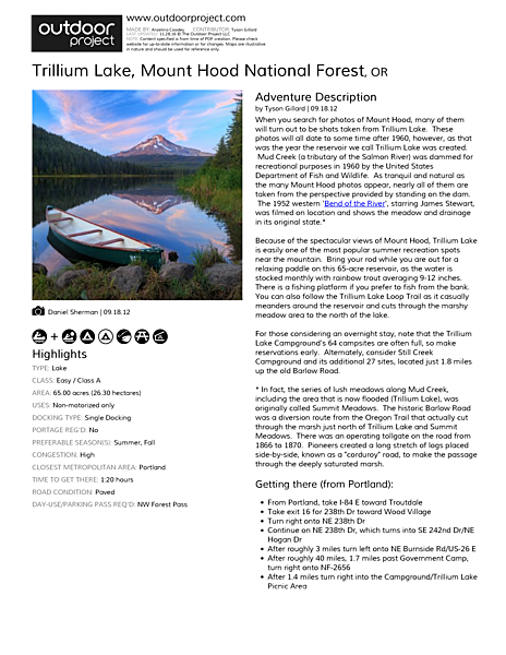 Trillium Lake Field Guide