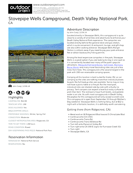 Stovepipe Wells Campground Field Guide