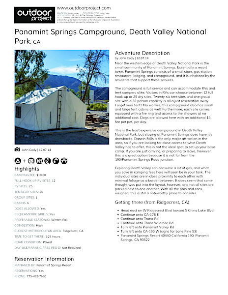 Panamint Springs Campground Field Guide