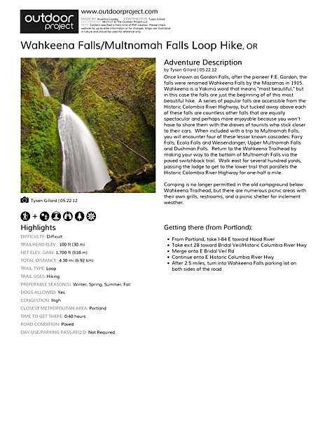 Wahkeena Falls/Multnomah Falls Loop Hike Field Guide