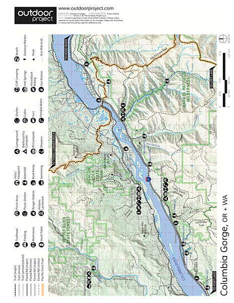 Wahkeena Falls/Multnomah Falls Loop Hike Trail Map