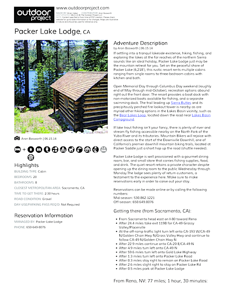 Packer Lake Lodge Field Guide