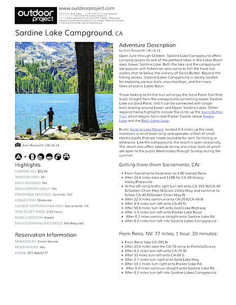 Sardine Lake Campground Field Guide