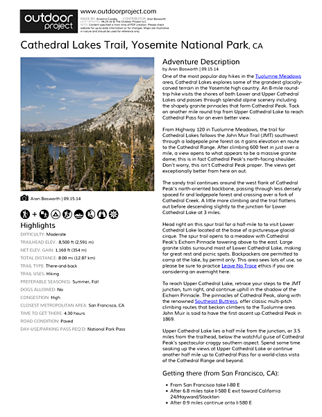 Cathedral Lakes Trail Field Guide