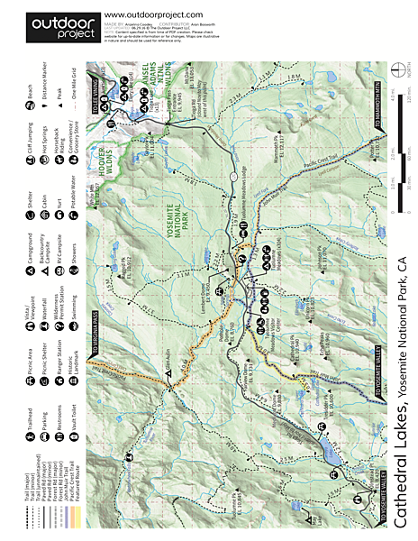 Cathedral Lakes Trail Trail Map