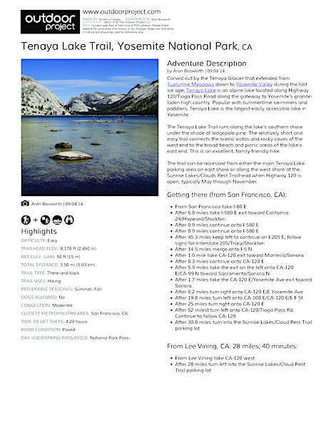 Tenaya Lake Trail Field Guide