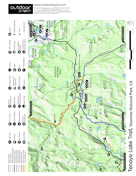 Tenaya Lake Trail Trail Map