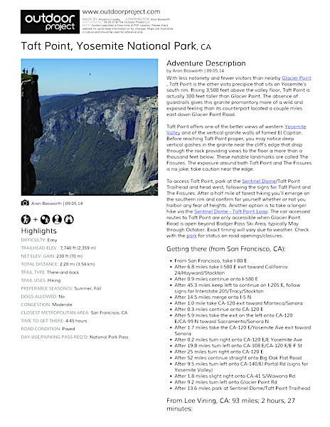 Taft Point Field Guide
