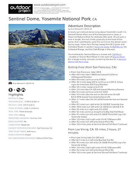 Sentinel Dome Field Guide