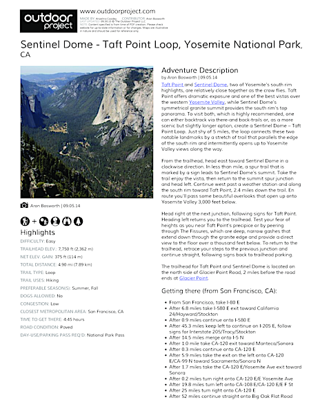 Sentinel Dome - Taft Point Loop Field Guide