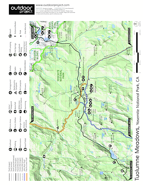 Lembert Dome, Southeast Face Trail Map