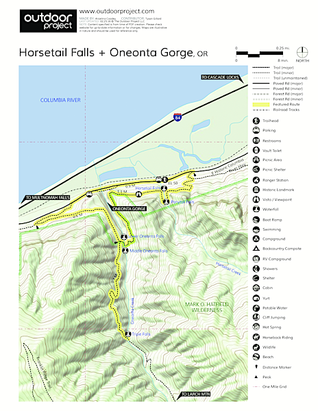 Horsetail, Ponytail + Triple Falls Hike Trail Map