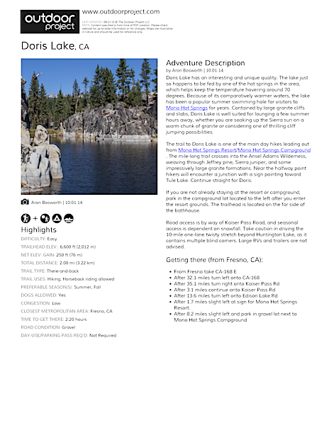 Doris Lake Field Guide