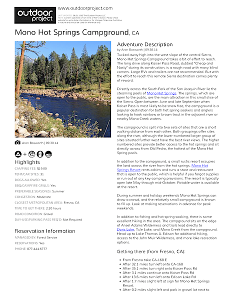 Mono Hot Springs Campground Field Guide