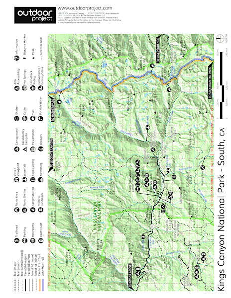 River Trail Hike, South Fork of the Kings River Trail Map