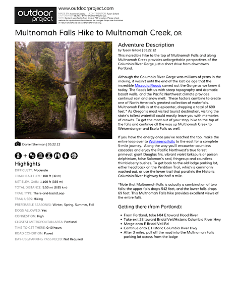 Multnomah Falls Hike to Multnomah Creek Field Guide