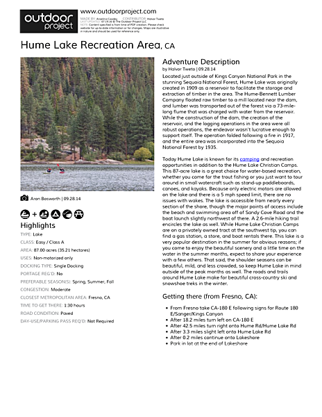 Hume Lake Recreation Area Field Guide