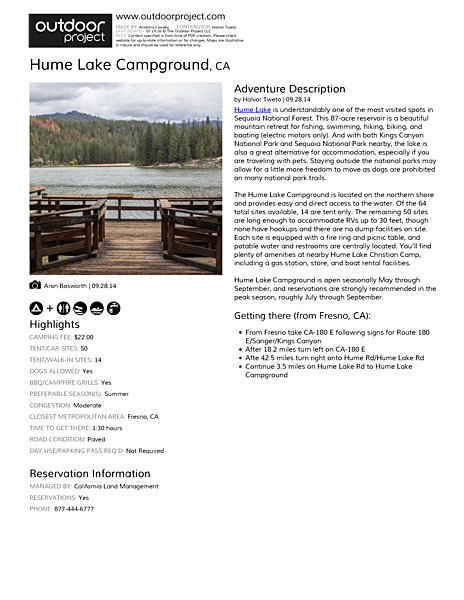 Hume Lake Campground Field Guide