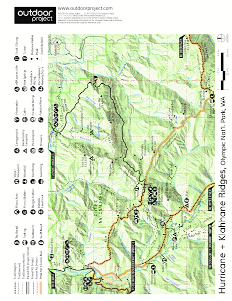 Elwha River Trail, Goblin Gates + Humes Ranch Loop Trail Map
