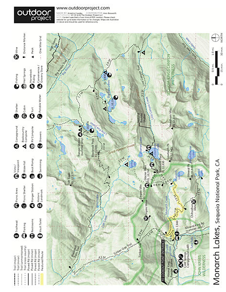 Monarch Lakes Hike Trail Map