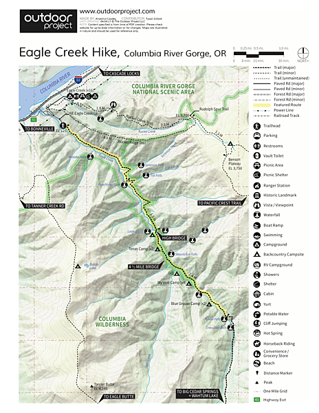 Eagle Creek Hike to Tunnel Falls Trail Map