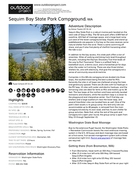 Sequim Bay State Park Campground Field Guide