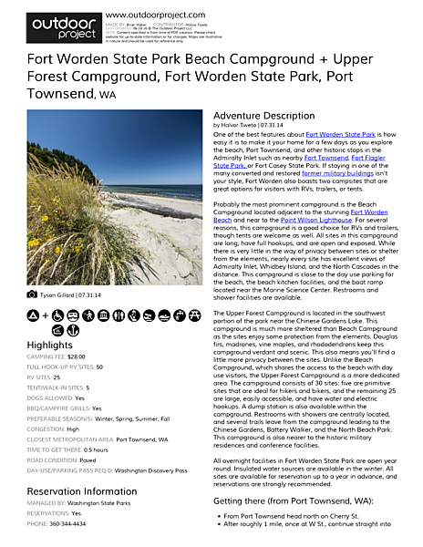 Fort Worden State Park Beach Campground + Upper Forest Campground Field Guide