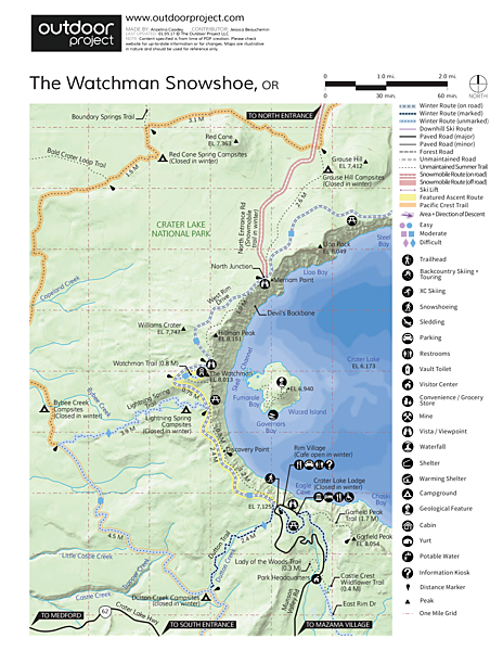 The Watchman Snowshoe Map