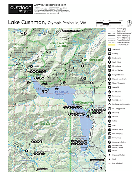 Lake Cushman, North Shore West Map