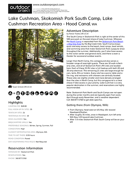 Lake Cushman, Skokomish Park South Camp Field Guide