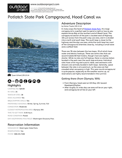 Potlatch State Park Campground Field Guide